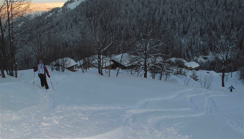 ski au crépuscule